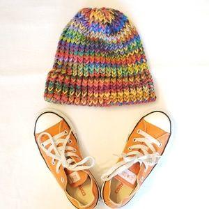 Hand knit children's winter hat